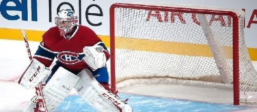 Carey Price (pictured in practice) is out with the flu (by Kristina Servant/Wikimedia Commons)