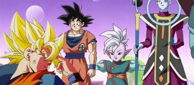Goku haciendo su técnica y Shin haciendo la suya
