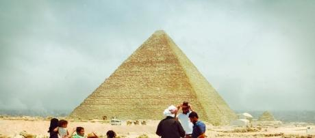 Tourists at the Great Pyramids of Giza. Credit: Darby Riales