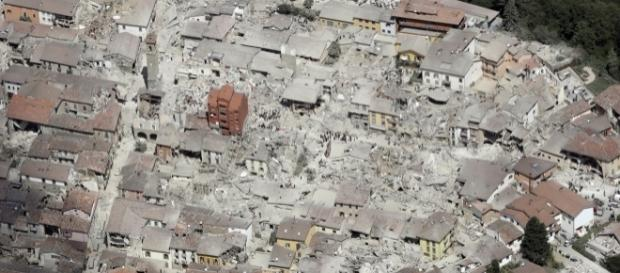 Amatrice vista dall'alto dopo il sisma del 24 agosto