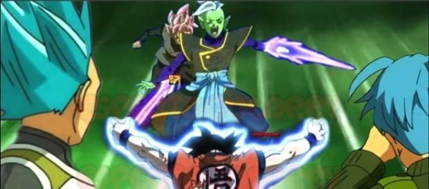 Goku usa el Mafuba contra Zamasu.
