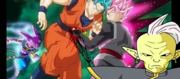 'DBS': Bills, gives Gowasu's clays to Goku to do the fusion. Wikipedia Photos.