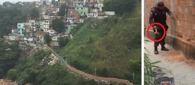 Policiais demoliram muro que servia de abrigo para traficantes no Rio