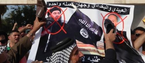Manifestantes contra Al-Baghdadi