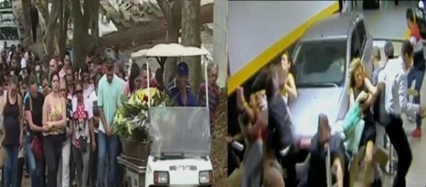 A primeira imagem mostra o velório de uma das vítimas, Iraci da Silva Fabri, de 48 anos. E a outra o momento do atropelamento.