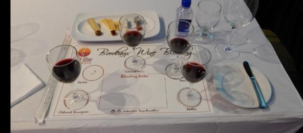 A wine tasting seminar place setting at the Swan and Dolphin Resort. (Photo by Barb Nefer)