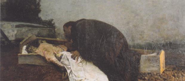 Cuadro de Pietro Pajetta. Representa la necrofilia, un tipo de parafilia