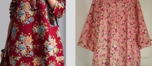 La photo de gauche est issue du net. C'est la robe qui m'a inspirée ce patron.