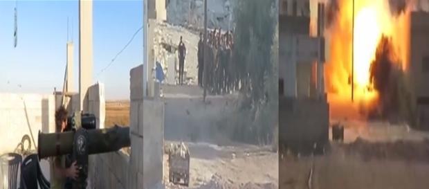 A primeira imagem mostra o combatente que lança o míssil, e a segundo o momento em que o projétil alcança o grupo.