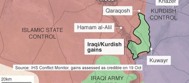 Avancées coalisées et territoires repris à Daesh près de Mossoul le 19 oct. vers midi
