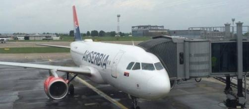 Air Serbia on stand at Belgrade Airport