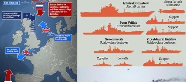 Le groupe naval russe, de la taille d'une forte escadre, se dirige vers la Syrie