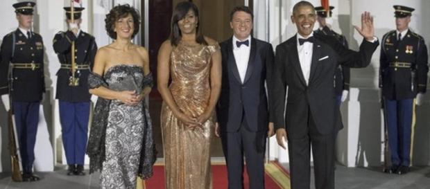 Obama e Renzi con le rispettive mogli