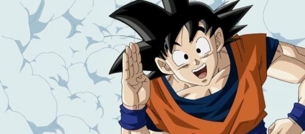 Goku contento con la noticia DBS
