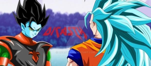 Goku y un personaje ficticio (fan art de Dicasty)