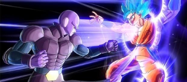 Hit y Goku en una intensa pelea en el juego