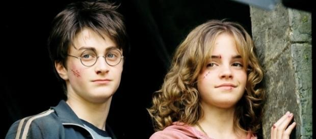 Daniel Radcliffe e Emma Watson em cena da franquia Harry Potter