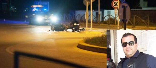 Il luogo dell'incidente e nella foto in basso a destra Fabio Balestrino.