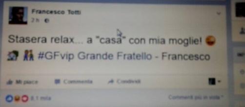 Il tweet sul GF di Francesco Totti