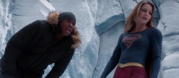 "James (Mehcad Brooks) and Kara (Melissa Benoist) in ""Supergirl""/Photo via screencap, ""Supergirl"""