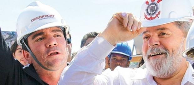Lula na obra do Itaquerão, que foi construído pela Odebrecht