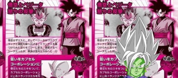 Scan de la revista Shonen Jump junto con un fan art de la fusion de Zamasu
