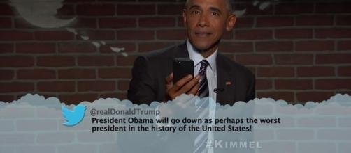"""President Barack Obama gives a crushing reply to Donal Trump's mean tweet on """"Jimmy Kimmel Live"""" (YouTube/Jimmy Kimmel Live)"""