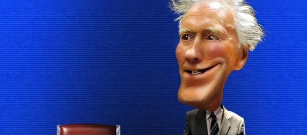 Una caricatura di Clint Eastwood, decano della Hollywood repubblicana.
