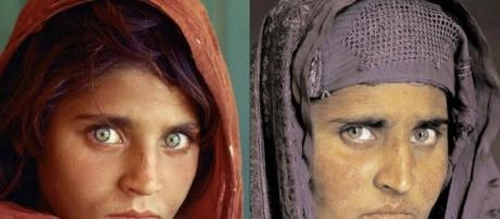 La Monna Lisa afghana fotografata da Steve Mc Curry per National Geographic nel 1984 e nel 2002