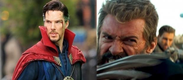 A sinistra Cumberbatch nei panni di Strange, a destra Jackman come un invecchiato Logan