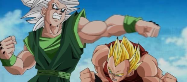 Fan art de Zicor (personaje de Toyotaro) peleando contra Vegeta