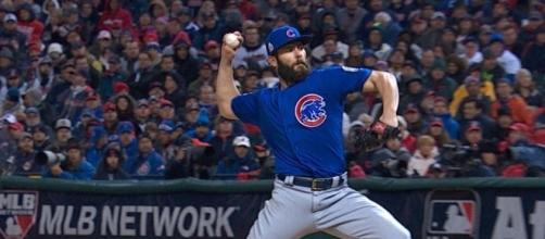 Jake Arrieta, 2015 Cy Young Award winning pitcher, during Game 2 of the World Series. Credit: Permission of Major League Baseball