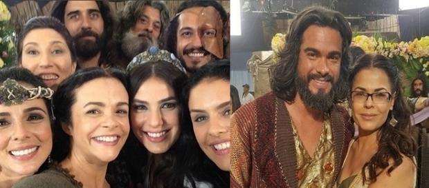 Os noivos Josué e Aruna aparecem no Instagram das atrizes