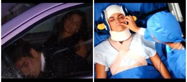 Esmeralda e Paulo sofrem acidente
