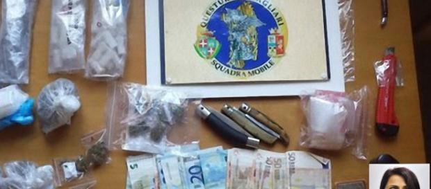 La droga sequestrata dalla Polizia a Mulinu Becciu. Nella foto piccola in basso a destra, Rita Ruggeri.