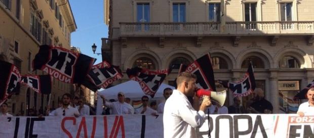 Flash mob di Forza Nuova contro l'U.E.