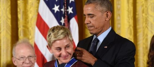 A Teary Ellen DeGeneres Receives the Presidential Medal of Freedom ... Source: zimbio.com