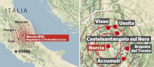 La scossa di magnitudo 6.5/7.1, registrata a Norcia, è la scossa più forte degli ultimi decenni in Italia.