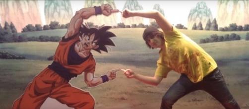 Porta haciendo la fusión con Goku