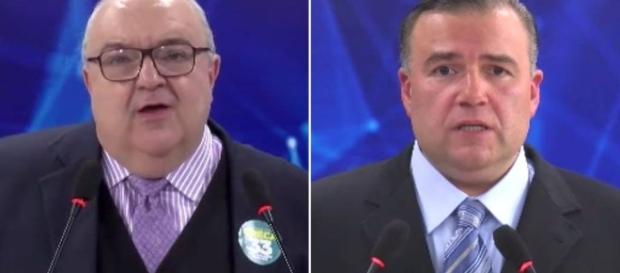 Rafael Greca e Ney Leprevost durante um dos debates eleitorais