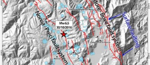 Immagine tratta dal sito http://www.comunicazioneingv.it/, illustra faglie responsabili del terremoto.