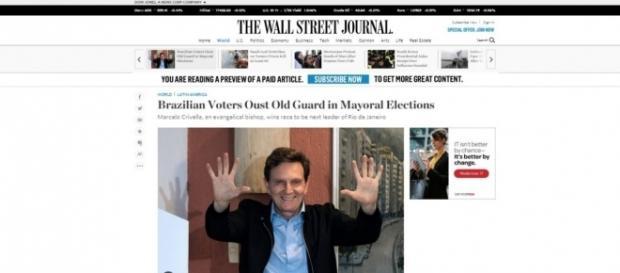 Eleição de Crivella ganhou reportagens em vários jornais (Foto: Reprodução)