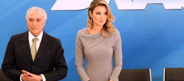 Marcela Temer ao lado do presidente Michel Temer