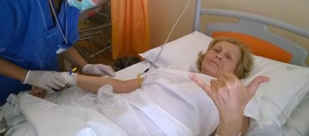 Maurizia Paradiso subito dopo l'operazione