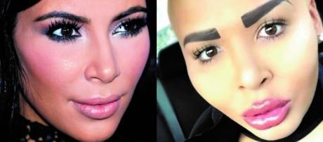 À esquerda, a verdadeira Kardashian; à direita, a cópia