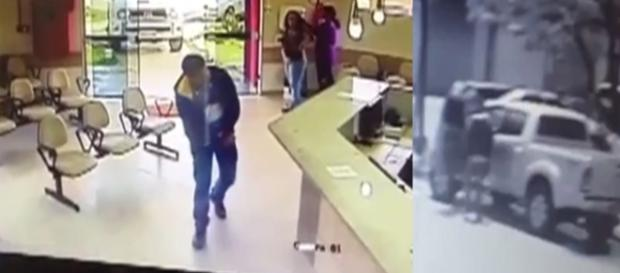 As imagens mostram o momento em que o homem baleado consegue chegar a um hospital no MS