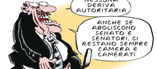 Vignetta tratta dal web. Vecchio trucco di certa sinistra italiana che si appella subito al 'fascismo' quando non ha argomenti per replicare