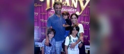 Domingos Montagner e a esposa com seus três filhos