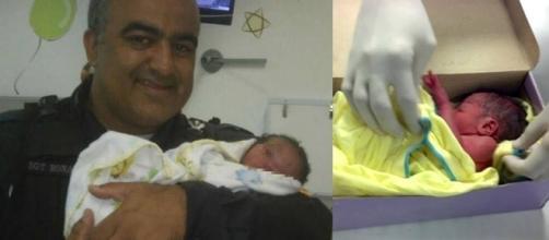 Polícia Militar do Rio divulgou foto do bebê com o sargento.