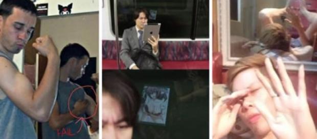 Imagens de pessoas flagradas no reflexo